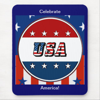 USA - American Flag and Stars in Circle #2 Mouse Pad
