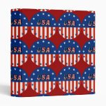 USA - American Flag and Stars in Circle 3 Ring Binders