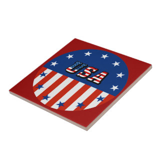 USA - American Flag and Stars in Circle Ceramic Tile