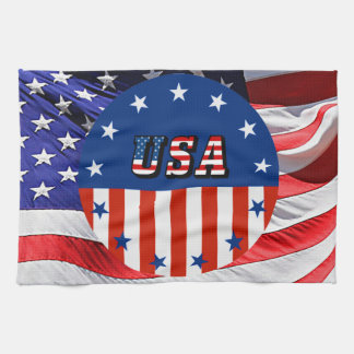 USA - American Flag and Stars in Circle Hand Towel