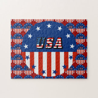 USA - American Flag and Stars in Circle Jigsaw Puzzle