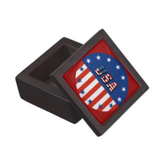 USA - American Flag and Stars in Circle Keepsake Box