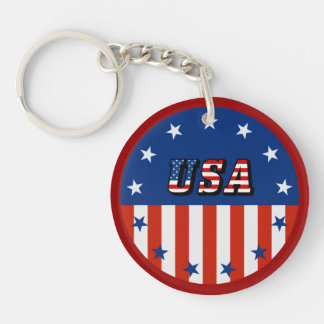 USA - American Flag and Stars in Circle Double-Sided Round Acrylic Keychain