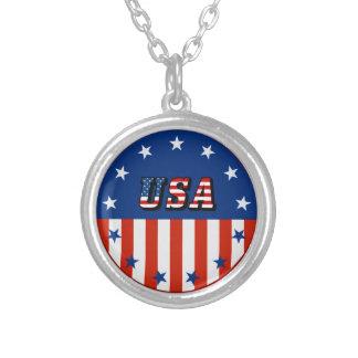 USA - American Flag and Stars in Circle Custom Jewelry