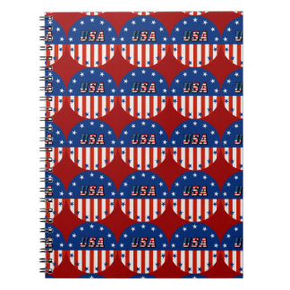 USA - American Flag and Stars in Circle Notebook
