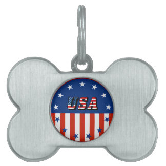 USA - American Flag and Stars in Circle Pet Tag