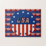 USA - American Flag and Stars in Circle Jigsaw Puzzles