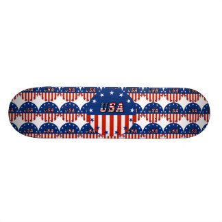 USA - American Flag and Stars in Circle Skate Deck