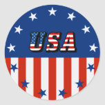 USA - American Flag and Stars in Circle Round Stickers