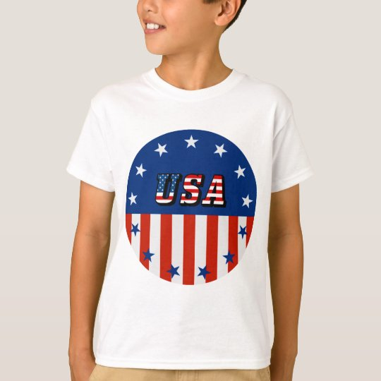 USA - American Flag and Stars in Circle T-Shirt