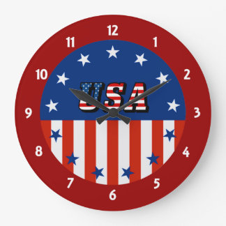USA - American Flag and Stars in Circle Wall Clock