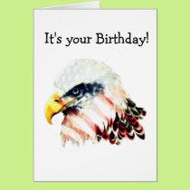 USA American Flag Bald Eagle Design Card