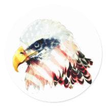 USA American Flag Bald Eagle Design Classic Round Sticker