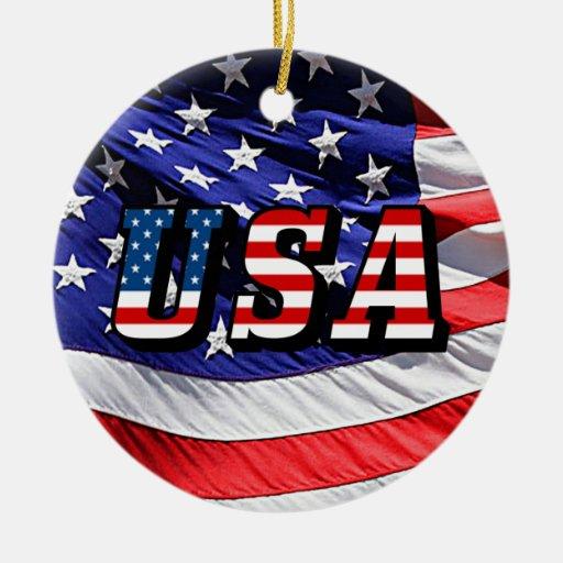 USA - American Flag Christmas Tree Ornaments