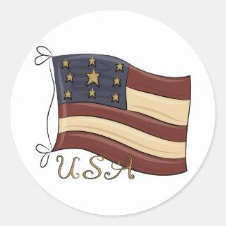 USA American Flag Classic Round Sticker