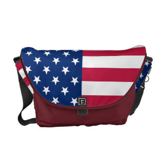 USA American Flag Commuter Travel Messenger Bag