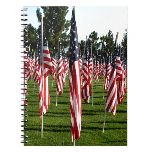 USA American Flag Corner Flag Memorial Note Book