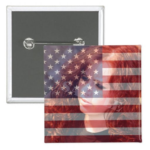 USA American Flag Customizable With Photo Button