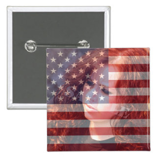 USA American Flag Customizable With Photo Pinback Button
