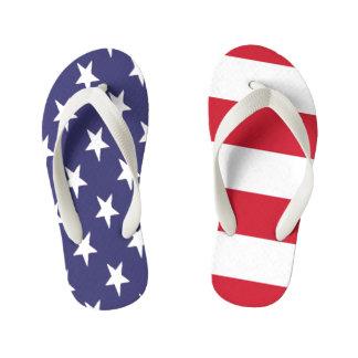 USA American Flag Duo Kid's Flip Flops