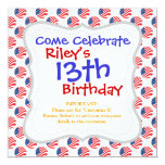USA American Flag Fourth of July Patriotic 5.25x5.25 Square Paper Invitation Card
