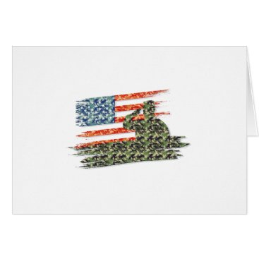 USA American Flag Gift Army Veteran Card