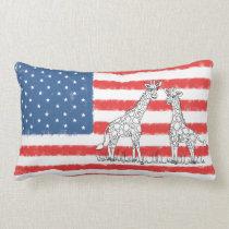 USA American Flag Giraffe Conservation Doodle Lumbar Pillow