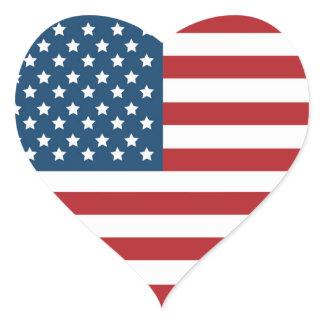 USA American Flag Heart Heart Sticker