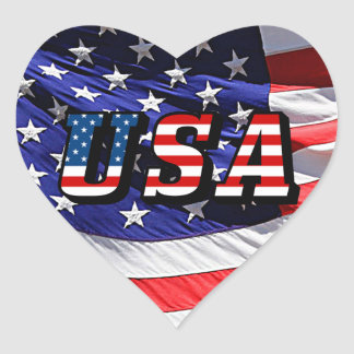 USA - American Flag Heart Sticker