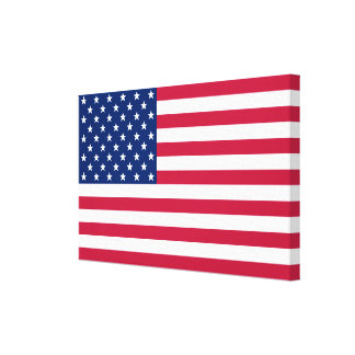 USA American Flag Home Office Decor Wrapped Canvas Canvas Print