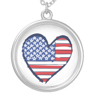 USA American Flag in a Heart Pendant
