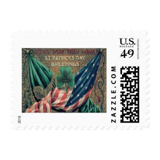 USA American Flag Irish Shamrock Postage Stamp