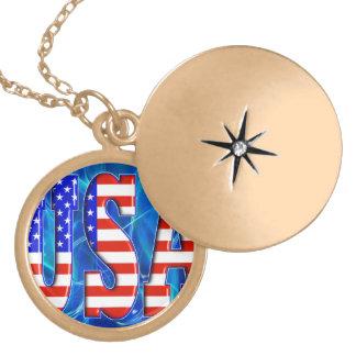 USA AMERICAN FLAG LOCKET NECKLACE