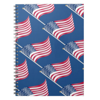 USA American Flag on Pole Red White Blue Pattern Spiral Note Books