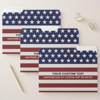 USA American Flag Patriotic July 4th Custom Text File Folder