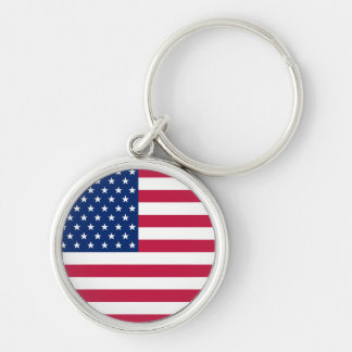 USA American Flag Patriotic Round Metal Keychain