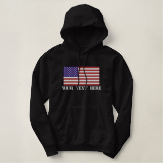 USA American Flag Personalized Embroidered Hoodie