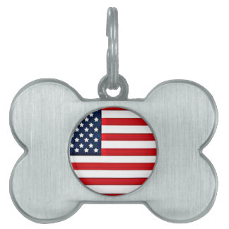 USA American Flag Pet ID Tag