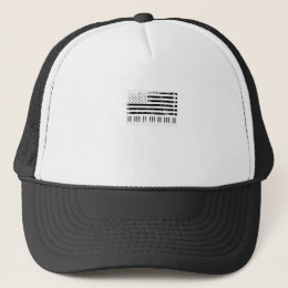 Usa American Flag Piano Keyboard Keys Trucker Hat