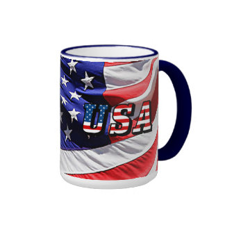 USA - American Flag Ringer Coffee Mug