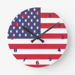 USA American Flag Round Wallclocks