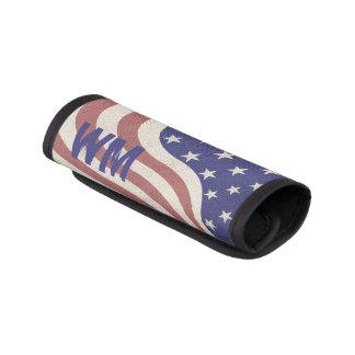 USA, American flag, rustic denim texture monogram Handle Wrap