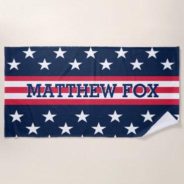 USA Themed USA American Flag Stars Stripes Monogram Beach Towel