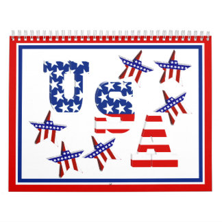 USA American Flag Text w/Red White & Blue Border Calendar