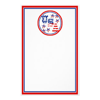 USA American Flag Text w/Red White & Blue Border Stationery