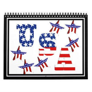 USA American Flag Text with Stars & Stripes Wall Calendars