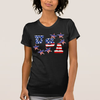 USA American Flag Text with Stars & Stripes T-Shirt
