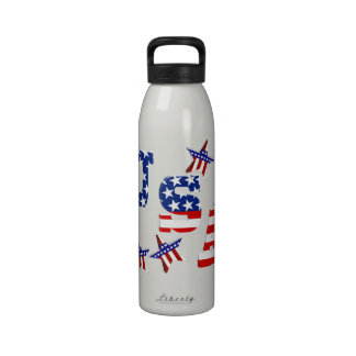 USA American Flag Text with Stars Stripes Reusable Water Bottle