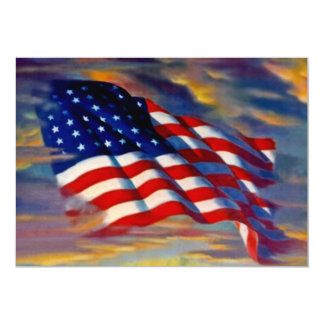 USA American Flag Waves Clouds Blank Invitations