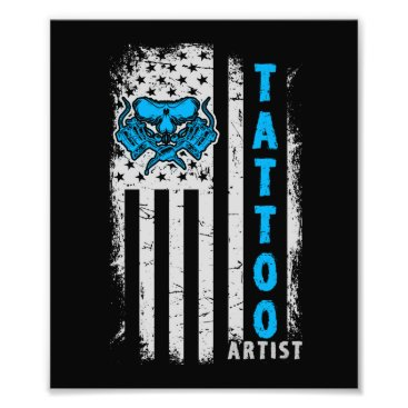 USA Themed USA American Flag with Tattoo Artist Photo Print